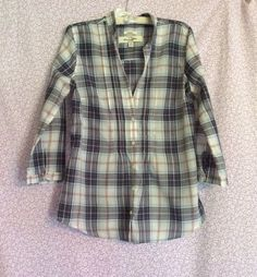 Abercrombie & Fitch Sheer Plaid Girls Blouse Long Sleeve Size M #AbercrombieFitch #Blouse