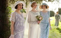 Lady Sybil, Lady Edith and Lady Mary before Lady Edith's wedding (that was sadly not-to-be). #wedding #DowntonAbbey