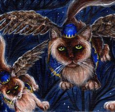 Flying Monkey Cats Inspired by the Wizard of Oz. Cat art by TaraFly