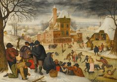 Pieter Brueghel the Younger A WINTER LANDSCAPE WITH SKATERS