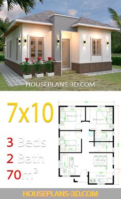 House design 7x10 with 3 Bedrooms Hip roof - House Plans 3D