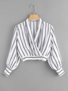 Shop Striped Crop Surplice Top at ROMWE, discover more fashion styles online. Teen Fashion Outfits, Kpop Outfits, Cute Fashion, Stylish Outfits, Trendy Fashion, Cute Outfits, Indian Designer Outfits, Trendy Tops, Aesthetic Clothes