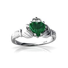 White Gold Green Amethyst and Diamond Heart Claddagh Ring - Size 4 Diamond Claddagh Ring, Claddagh Rings, Irish Rings, Celtic Rings, Diamond Heart, Gold Heart, Black Diamond, Heart Ring, Alexandrite Ring