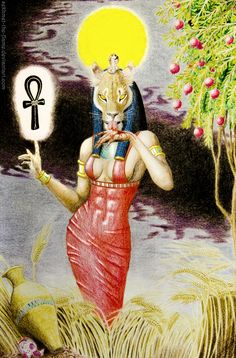 Sekhmet- Egyptian myth: a goddess with a lion head. She was the goddess of fire and war. From her breath the desserts were formed. She was the daughter of Ra.