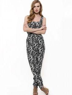 2a12bb1d2ea1e8 Buy Glamorous Multi Monochrome Floral Print Jumpsuit for Girls Online in  India
