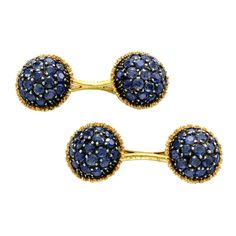 Buccellati Sapphire Gold Cufflinks | From a unique collection of vintage cufflinks at https://www.1stdibs.com/jewelry/cufflinks/cufflinks/