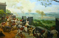 Maratha army in fort with their king during war Shivaji Maharaj Painting, Warrior Concept Art, Ancient Indian History, Shivaji Maharaj Hd Wallpaper, Warriors Wallpaper, Hd Wallpapers 1080p, God Pictures, Indian Paintings, Historical Pictures