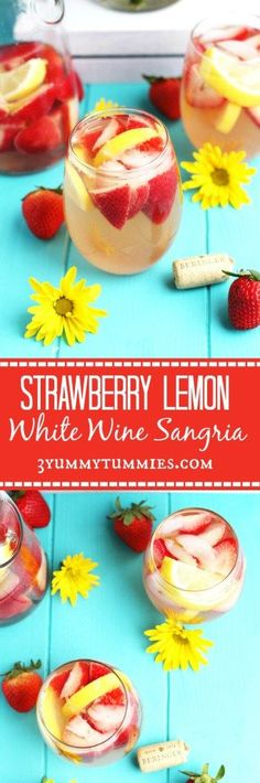 A refreshing White Wine Sangria with Pinot Grigio, Strawberries, Lemons and a touch of added sweetness...perfect for spring!