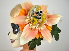 I love Barbie Summer Lilly hand painted Sugar Skull fascinator by jammerdesignz