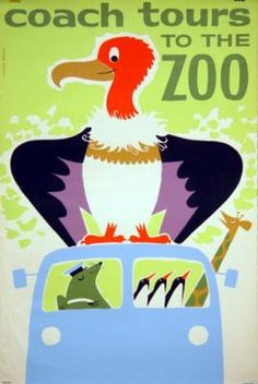 Daphne Padden Vintage Poster, Coach Tours to the Zoo, Vulture
