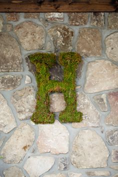 Moss Covered Letter - Simple Rustic Details - Woodsy Ideas - Event Decor - Wedding Flowers - Wedding Floral Ideas - Non Flower Decorations - Monogram in Moss - Cabin Decorations - Cabin Lodge Wedding - Knoxville TN Florist - www.lisafosterdesign