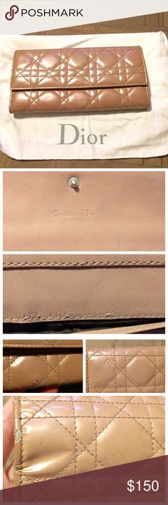 Dior cannage wallet rendezvous patent leather Beautiful Christian Dior wallet in a dark blush/tan/beige color and patent leather. I bought this from fashionphile so it is guaranteed authentic. It has the ability to add the chain and charm to make it a wallet on chain bag. However, it does have damage and may be better suited as a wallet. The wallet has some peeling places on the exterior and ink marks on the interior and exterior. The cannage is a beautiful pattern and is still a great bag…