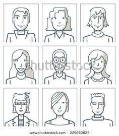 Nine Avatars. Simple Line. Nine Portraits Of Young People. The Drawings Are Made With Simple Lines. Eps8 File. Illustration vectorielle libre de droits 229663825 : Shutterstock