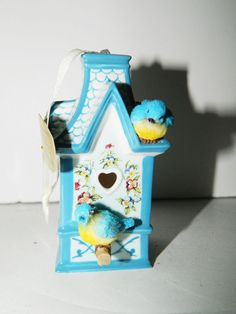 NWT Bradford Heirloom Collection Spring Blossom Cottage Blue Bird House Ornament