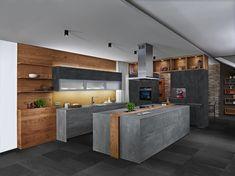 Das puristische, zeitlose Küchendesign des Modells Concreto spricht mit der neuen Beton-Oberfläche in Kombination mit metall grau und Borden sowie Regalen in wildeiche geölt, eine klare Formensprache. Das neue Betondekor besticht durch eine einzigartige Oberflächenstruktur, die im richtigen Streiflicht wirkt, als wäre echter Beton mit der Spachtel aufgetragen worden. Barn Kitchen, Kitchen Island, Future House, My House, Modern House Plans, Cuisines Design, Küchen Design, Modern Kitchen Design, Home Goods