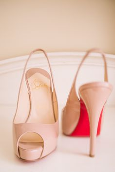 Lovely pink peep toe sling shoes back by Christian Louboutin || See this wedding on Style Me Pretty:  http://www.StyleMePretty.com/canada-weddings/british-columbia/kelowa/2014/02/20/key-themed-wedding-at-hotel-eldorado/ Kevin Trowbridge Photography