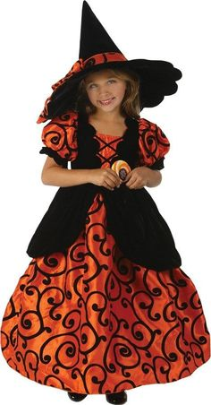Your little girl will love this pretty Shirley Pocket Witch Costume! Includes a beautiful orange dress with black swirl detailing, attached black velour vest wi Witch Costumes, Girl Costumes, Adult Costumes, Witch Hats, Costume Ideas, Halloween News, Halloween Costumes For Kids, Morris Costumes, Witch Dress