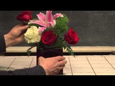 How To Make An Easy Valentine's Day Flower Arrangement--from Rittners Floral School, in Boston, MA  www.floralschool.com