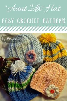 The Aunt Ida Hat crocheted hat pattern #Crochet #Freepattern #Easy #Tutorial