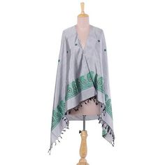 NOVICA Grey 100% Silk Shawl with Paisley Pattern from India ($70) ❤ liked on Polyvore featuring accessories, scarves, clothing & accessories, grey, shawls, floral scarves, grey shawl, wrap shawl, silk scarves and silk shawl