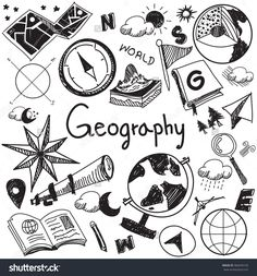 Geography and geology education subject handwriting doodle icon of earth exploration and map design sign and symbol in isolated background paper used for presentation title with header text (vector)