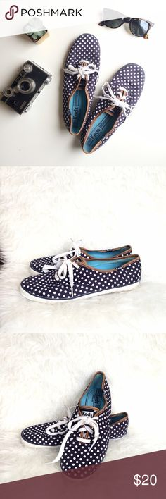 Keds Navy Polka Dot & Leather Sneakers Adorable twist on classic Keds! White polka dots and faux leather trim make these a fun show for so many outfits. These will definitely be a fall fave! Gently worn, great condition. Keds Shoes Sneakers