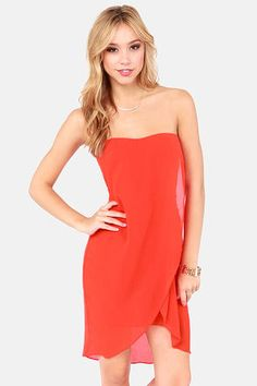 The Draped Caper Strapless Coral Red Dress at LuLus.com! #lulus #holidaywear LOVE THE DRAPED