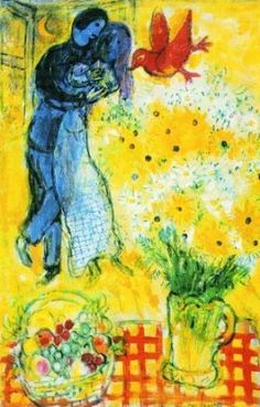 Marc Chagall, 1959, Lovers with Daisies,   https://www.artexperiencenyc.com/social_login/?utm_source=pinterest_medium=pins_content=pinterest_pins_campaign=pinterest_initial