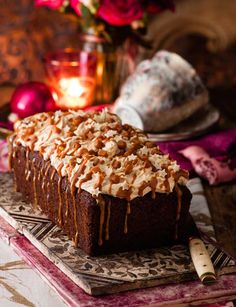 Butterscotch date loaf cake with caramel icing. This fabulous loaf cake still has all the wow factor needed for Easter.