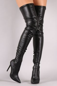 86f48a64a2a Liliana Leather Over the Knee Stiletto Boots Thigh High Boots
