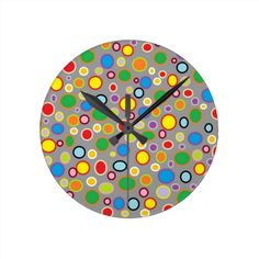 Outlined Polka Dots Clock