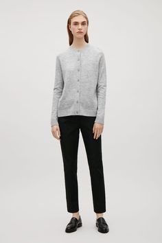 COS image 5 of Back pleated round-neck cardigan in Grey