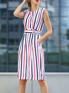 vestido sin manga rayas verticales