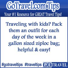 Traveling with kids? Pack them an outfit for each day of the week in a gallon sized ziploc bag; helpful & easy!  #Travel #TravelTips