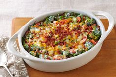 Shredded cheddar cheese and smoky bacon give this tasty broccoli bake its creamy flavorful appeal.