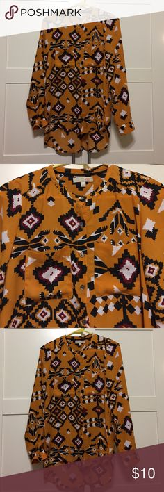 GB button up yellow tribal print blouse size S Like new!! Long tunic style blouse. Perfect for dressing up or down. 100% polyester. Comes from a smoke free home. GB for Kohls Tops Button Down Shirts