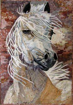 White Horse Portrait Mosaic, Mosaico Living Mosaics by winnie Mosaic Artwork, Mosaic Wall Art, Marble Mosaic, Tile Art, Mosaic Glass, Glass Art, Stained Glass, Tiles, Tile Mosaics