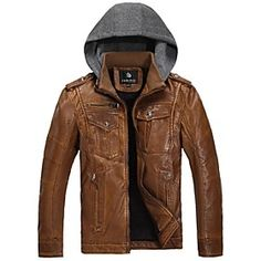 Sleeve Length:Short Sleeve; Occasion:Casual; Pattern:Pure; Outerwear Style:Hoodie,Jacket,Coat; Fabric:PU,Cotton; Color:Yellow,Brown; Look After Me:Tumble dry,Reshape whilst damp,Hand wash,Dry flat; Size:M,L,XXL,XL; Special Suggestion:This Style is TRUE to SIZE.; Clothing Length (cm):M:67;L:69;XL:71;XXL:73; Clothing Shoulder Width (cm):M:45;L:46.3;XL:47.6;XXL:48.9; Clothing Sleeve (cm):M:62.5;L:64;XL:65.5;XXL:67; Clothing Bust (cm):M:108;L:112;XL:116;XXL:120; Outerwear Length:Regular
