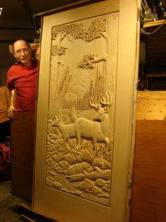 Jerry Mifflin- White-tailed Deer Door Carving
