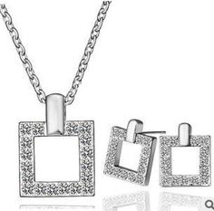 CS84 Hollow square elegant temperament crystal earrings necklace jewelry sets  B11-in Jewelry Sets from Jewelry on Aliexpress.com
