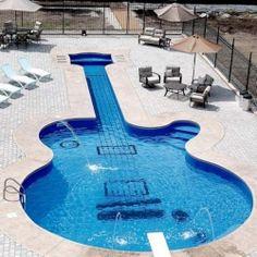 Alluring Les Paul Guitar-Inspired Swimming Pool.