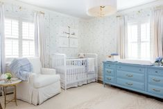 A Sophisticated Spin on a Traditional Blue and White Nursery - Modern Blue Nursery Girl, Light Blue Nursery, White Nursery, Nursery Neutral, Royal Nursery, French Nursery, Neutral Nurseries, Baby Room Design, Nursery Design