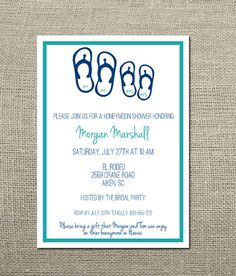 2c4c26759f3382 Flip Flops Honeymoon Travel Theme Wedding Shower Invitation Designed by  graphic designer Kim Keller.