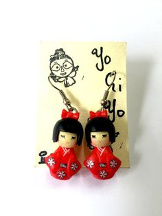 Kawaii Japanese Kokeshi Doll Earrings Red by YogiYoAccessories Funky Earrings, 50s Vintage, Kokeshi Dolls, Vintage Japanese, Kawaii, Christmas Ornaments, Holiday Decor, Unique Jewelry, Handmade Gifts