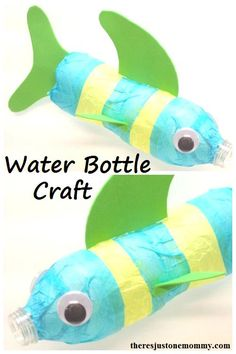 recycled water bottle craft -- make a fish from a water bottle  --  Earth Day craft http://theresjustonemommy.com/2012/08/10/a-fishy-water-bottle-craft/