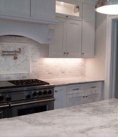 Range hood & Super White granite