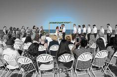 Beach wedding chairs in the round by Rox Beach archways & decorations of Ocean City Maryland:  https://www.roxbeachweddings.com/