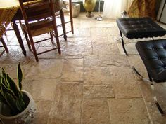 Really old French limestone floor tiles salvaged from old farm house in Provence region.