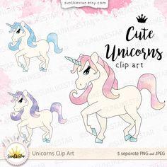 Cute Rainbow Unicorn Clipart: Pony Clipart, Digital Download | pink unicorn clip art, fairytale clipart, fantasy clipart, unicorn printable by SunlikeStar on Etsy #unicorn #clipart #pony #baby #digital #cute #colorful