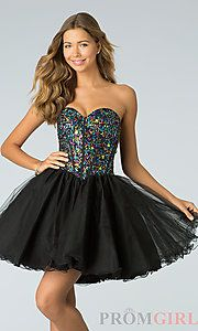 Buy Short Strapless Sweetheart Babydoll Dress at PromGirl - Perfect for dancing the night away! #prom